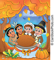 Thanksgiving pilgrim theme 6 - eps10 vector illustration