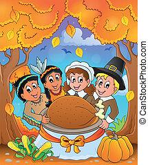 Thanksgiving pilgrim theme 6 - eps10 vector illustration