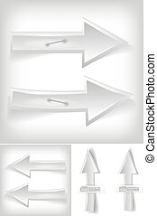 Set of white arrows - vector illustration