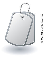 Vector identity tags or pair of dog tags or identity plates