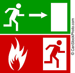 Emergency fire signs - Emergency fire exit door and exit...