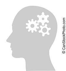 cogs or gears in human head - Illustration of cogs or gears...