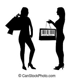 Young women silhouette - shopping concept