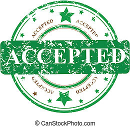 Abstract grunge rubber office stamp with the word ACCEPTED and stars