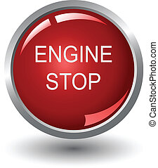 Engine stop web buttons, vector