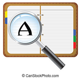 notepad with magnifying glass - open notepad with magnifying...
