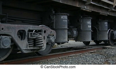 A freight train The cars The wheels