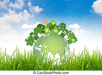Environmentally friendly planet on green grass and blue sky
