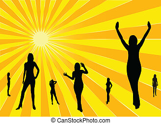 set of younf woman silhouette on sun rays