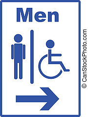 toilet sign - Icon with man and handicap or wheelchair...