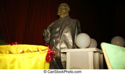 Sculpture, monument to Vladimir Lenin in the warehouse.