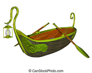 Fantasy fairy tale boat - isolated on the white background
