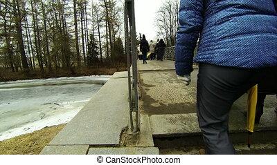 The crowd goes the  bridge.