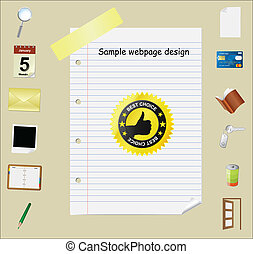 Web page template with icons