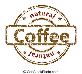 grunge rubber stamp with text natural coffee