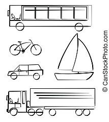 transportation vehicles - Simple vetcor drawings of...