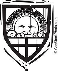 Heraldic Shield Sun Face - Woodcut style Heraldic Shield...