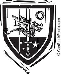 Heraldic Shield Dragon and Sword - Woodcut style Heraldic...