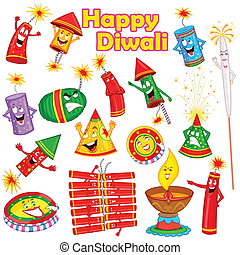 Colorful firecracker with expression for Diwali in vector