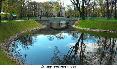 The bridge over the river in the Mikhailovsky garden of Saint Petersburg