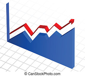 Vector, business profit growth graph chart
