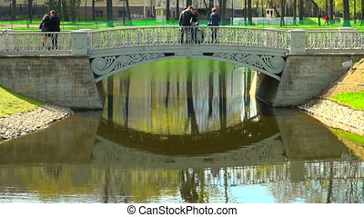The bridge over the river in the Mikhailovsky garden of...