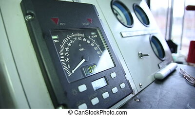 The instrument panel in the cockpit of a train
