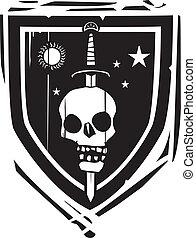 Heraldic Shield Sword and Skull - Woodcut style Heraldic...