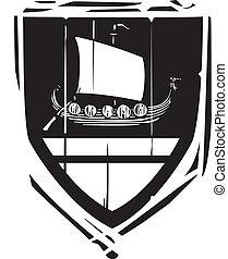 Heraldic Shield Viking Longship