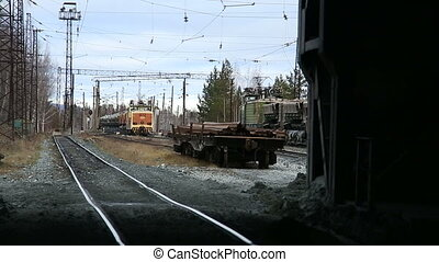 Freight train arrives at the depot