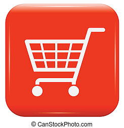 White shopping basket sign on red button