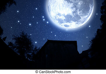 Starry Sky - Starry sky and full moon. Elements of this...