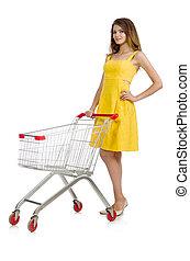 mujer, compras, tranvía, aislado, blanco