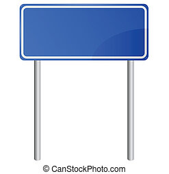 Blank blue road information sign