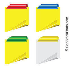 Vector sheets  with curled corner and clips