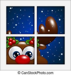 christmas reindeer looking by the window - christmas cartoon...