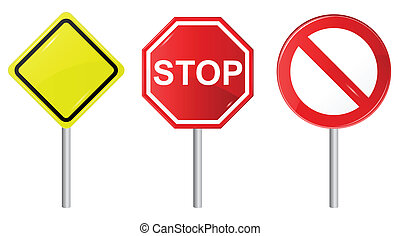 Vector illustration of 3 signs