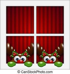 christmas cartoon reindeers looking by the window