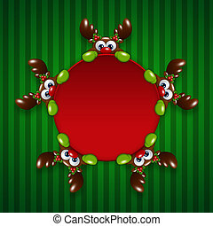 christmas cartoon reindeers holding red banner over green...
