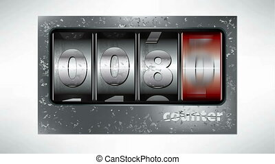 Old metal mechanical counter animation with numbers from 100...