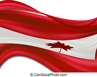 Canadian flag over white background with waves effect
