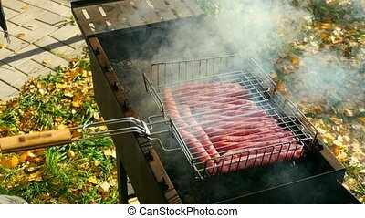 Sausage outdoor barbeque, delicious picnic meal