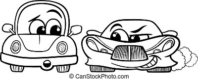 old automobile and gt car cartoon - Black and White Cartoon...