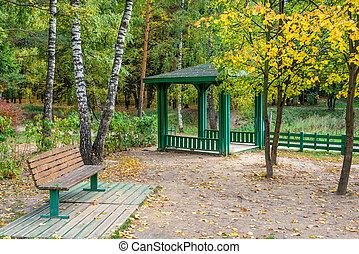 banco, Pavilhão, Outono, parque