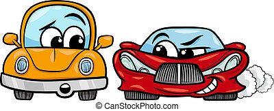 old automobile and sports car cartoon - Cartoon Illustration...