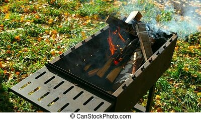 Brazier - Wood burning in the brazier grill