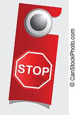 Handle door with stop sign , vector