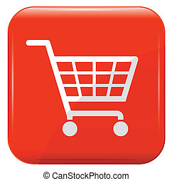 Shopping basket sign on red button.