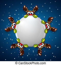 christmas reindeers holding snowball over blue background -...