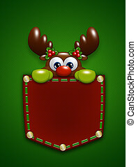 christmas reindeer in red pocket over green background -...